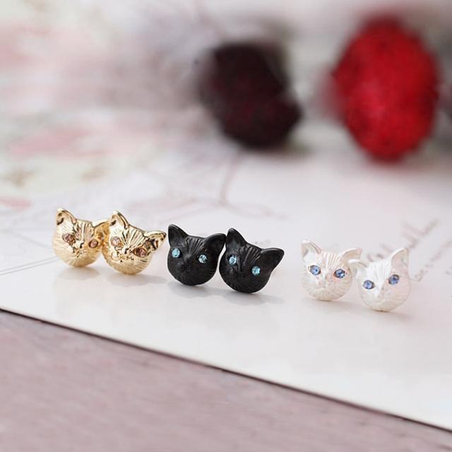 Little Black Cat Stud Earrings