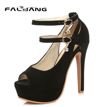 Buy Spring Autumn plus size 11 12 13 14 15 16 17 Flock Solid Fashion Peep Toe Super High Heels summer sandals ladies sandals for $74.00 in AliExpress store
