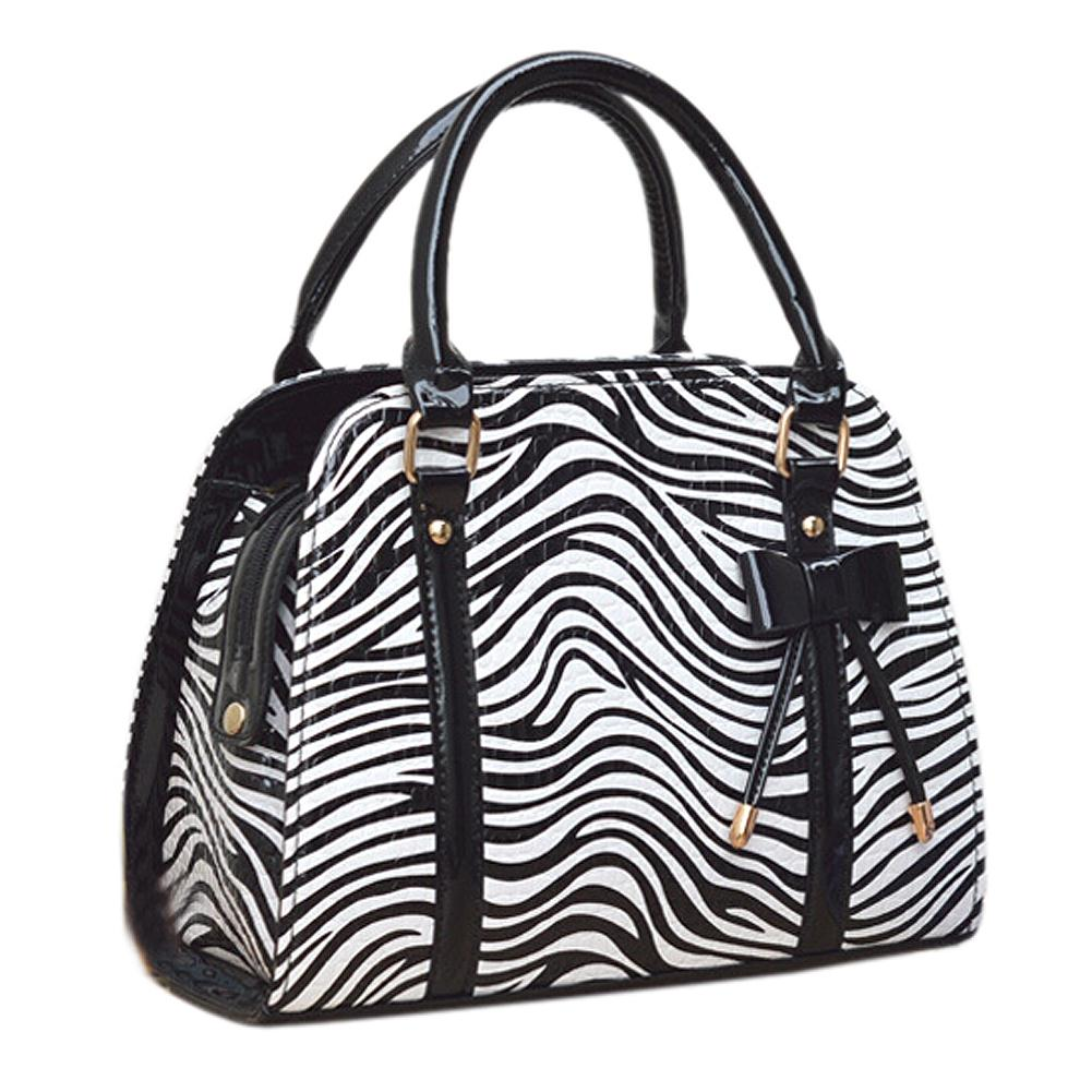 IMC Hot Women handbag pu leather shoulder bag fashion messenger Bags handbags-black white Zebra(China (Mainland))