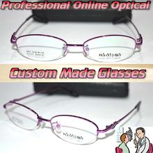 Optical Custom made optical lenses Titanium alloy semi-rim purple Oval frame women Reading glasses +1 +1.5 +2+2.5 +3 +3.5 to +6
