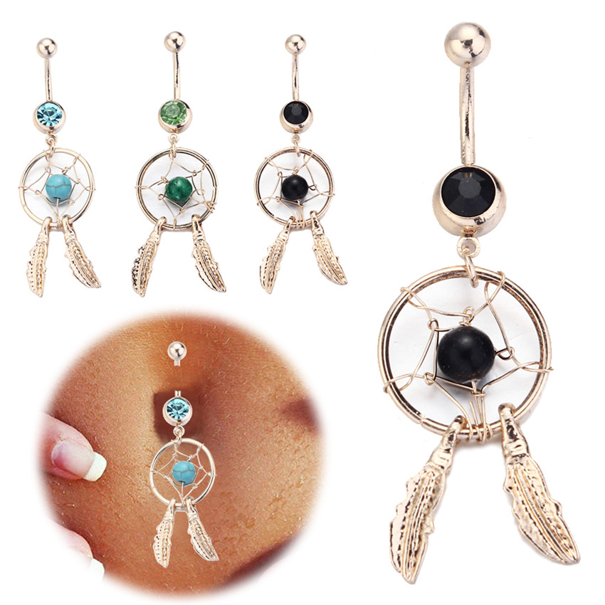 2016 body jewelry crystal gem dream catcher navel dangle for Belly button navel jewelry