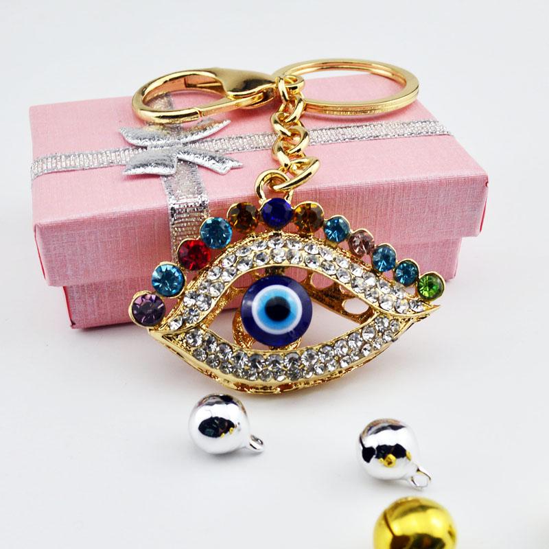 Punk Style Evil Eye & Palm Keychains Keyring Fashion Rhinestone Animal Metal Key Chain For Women Gift Charms Pendant Jewelry(China (Mainland))