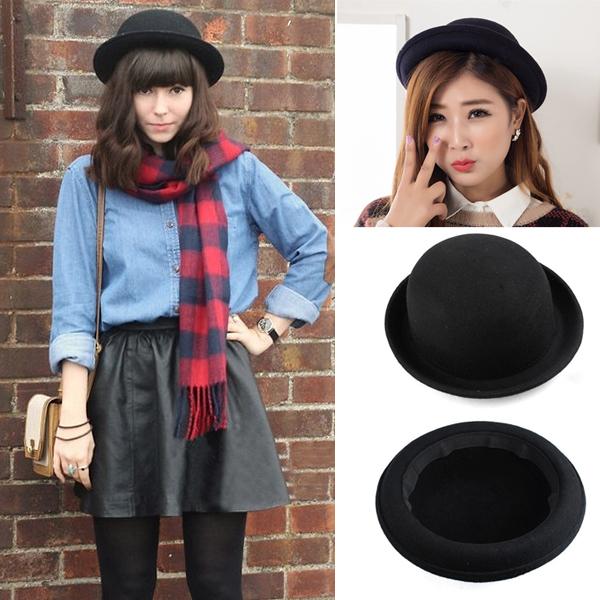 2015 Hot Sale Vogue Ladies Women Girl Vintage Wool Black Bowler Derby Fedora Trilby Hat Cap