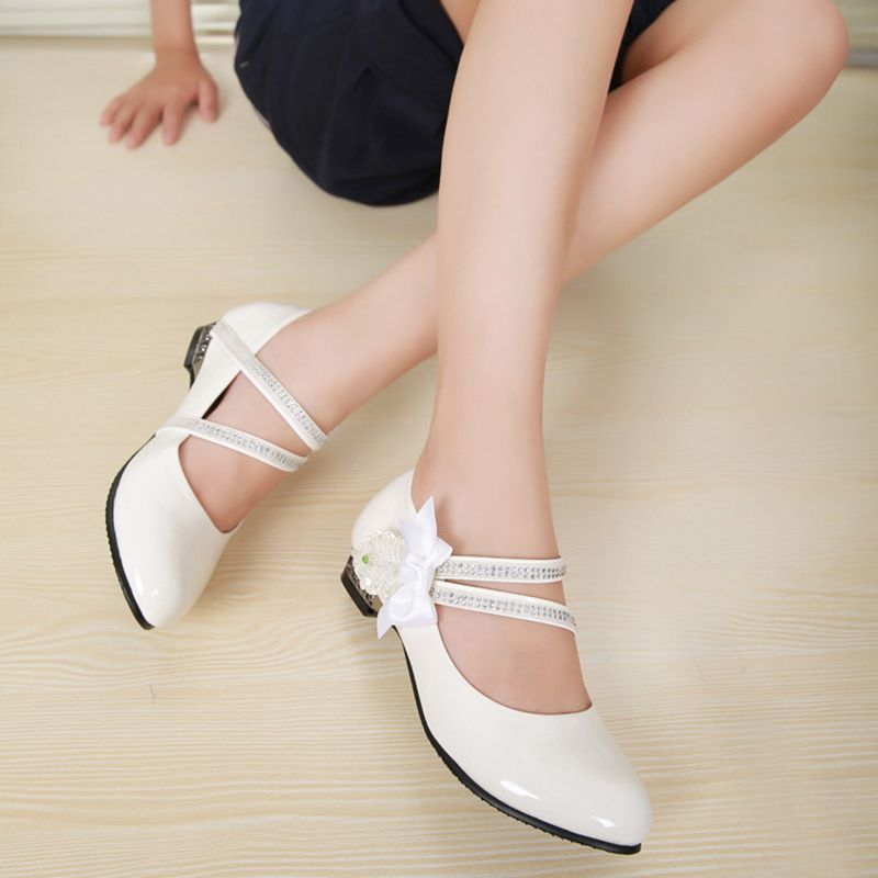 Princess Bow Rhinestone Children Shoes White Black Leather Shoes For Girls Zapatos Ninas Party Wedding Girls Heel Shoes TX217