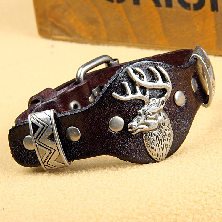 2016 Luxury designer Genuine leather Milu deer bracelet for women men fashion wrap wrop charm wristband bracelets for cool male(China (Mainland))