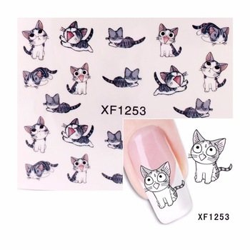 YZWLE 1 Sheet Cute Cat Pattern Nail Sticker Water Decals Nail Art Water Transfer Stickers Nails Tools For Nails  1253