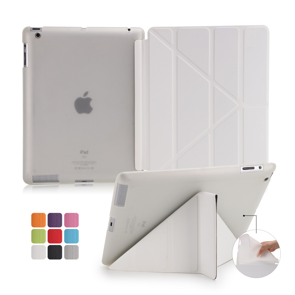 Leather Cover For ipad 6 Stand Flip Case Ultra thin Transparent Clear Luxury Cases For Apple iPad Air 2 Cover(China (Mainland))