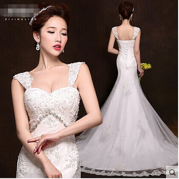 2015 New Vintage Sexy Mermaid Wedding Dress Diamond Dress