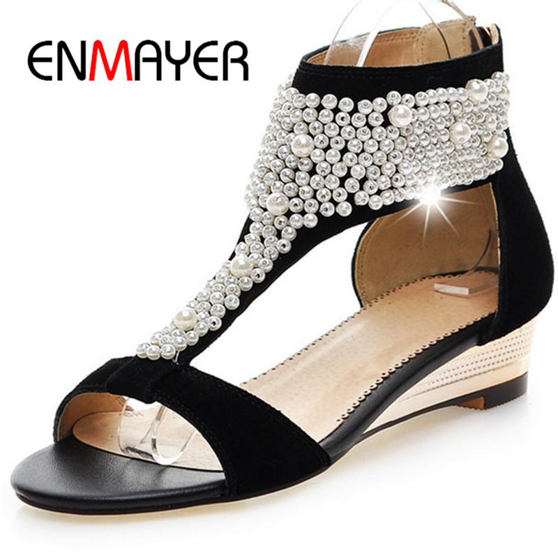 Фотография ENMAYER Women Faux Pearl Sandals New Fashion Ankle Straps Rhinestone Summer Flats Shoes Casual Party women flats