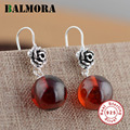 BALMORA New Fashion Jewelry 100 925 Sterling Silver Crystal Red Drop Earrings for Women Lover Party