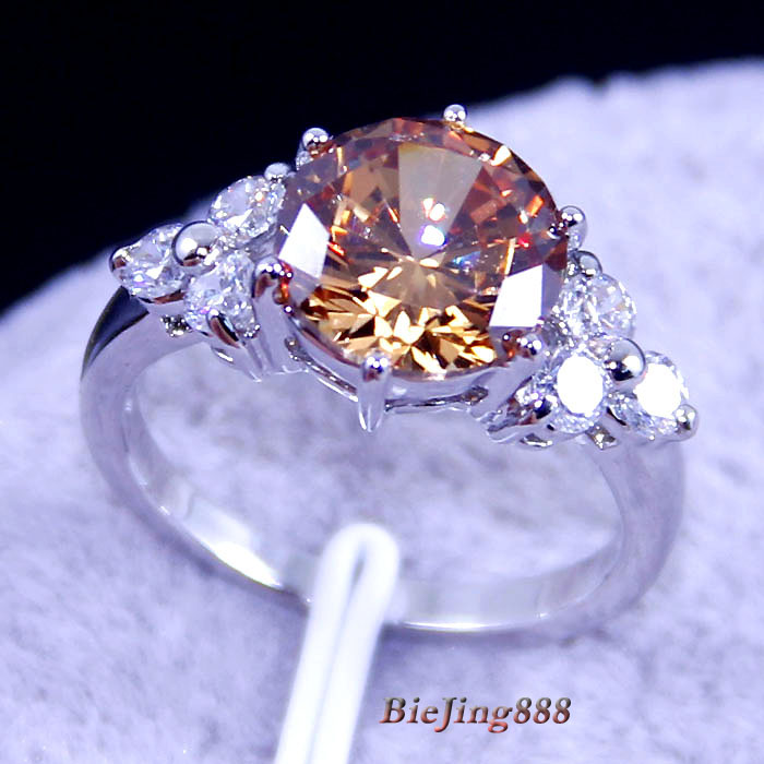 JK3235 silver 18k real white gold plated fashion jewelry Grecious honey citrine Ring biejing888(China (Mainland))