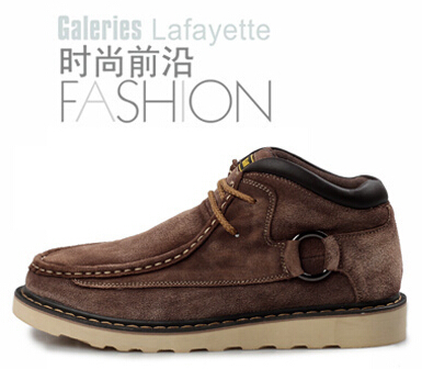 Plus size:38-45 Winter 2016 fashion tide boy casual snow Ankle boots tooling male Genuine Leather flats high men's outdoor shoes(China (Mainland))