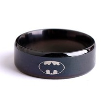 Black batman logo alliance of tungsten carbide ring wide 8mm 8g for men women high quality