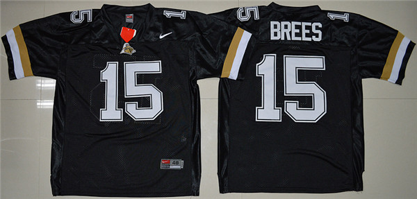New Arrival High Quality Nike Purdue Boilermakers Drew Brees 15 College T-shirt Jersey - Black(China (Mainland))