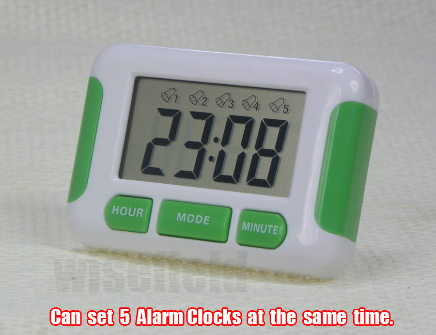 Alarm Clock 5 Groups Noisy Bell 12/24 Hours Countdown Multi Kitchen Home House Lab Library Laboratory Drug Timer Count down Time(China (Mainland))