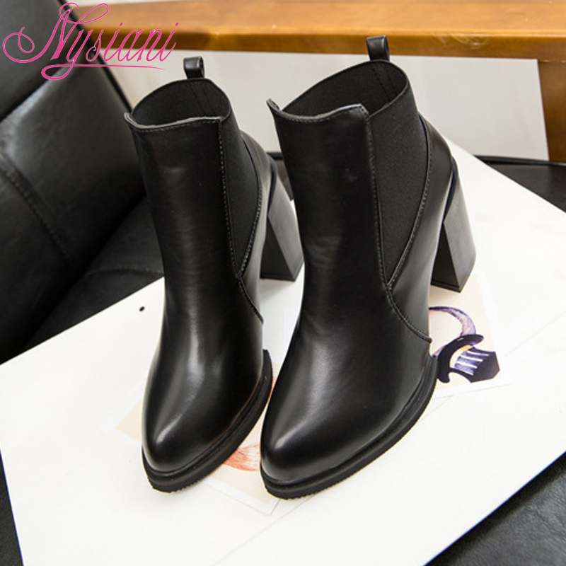 2015 New Ankle Boots Women Fashion PU Leather Square Heels Slip on Motorcycle Boots Autumn Winter Black Martin Boots Females(China (Mainland))