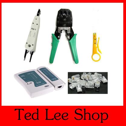 One Set Lan Network Cable Tester RJ45 RJ12 CAT5 CAT5e RJ45 Modular Plugs+ Telecom Phone Cable Punch+Crimp Tool Free shipping(China (Mainland))