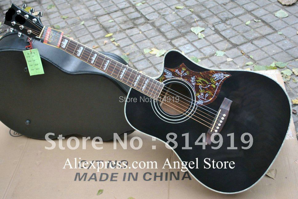 classic black Acoustic guitar hummingbirds guitar free shipping(China (Mainland))