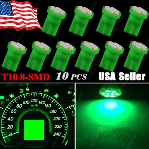 Super Discount Car led Light Bulbs 10pcs/lot Green Wedge T10 W5W 158 192 168 8-SMD LED Bulbs Speedometer Instrument Light Lamps(China (Mainland))