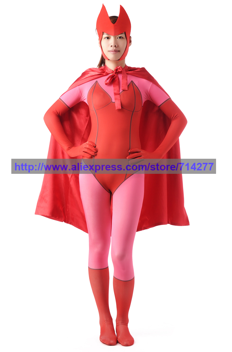 X MAN Scarlet witch Wanda Maximoff Superhero Zentai Suit Full Body Suits Halloween Lycra Costumes Spandex catsuitОдежда и ак�е��уары<br><br><br>Aliexpress
