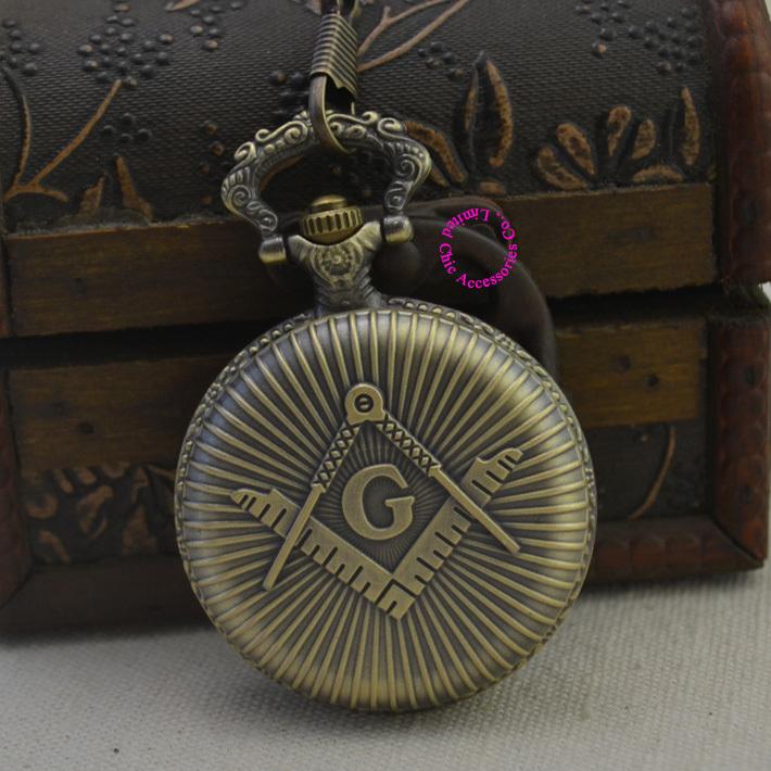fashion quartz Masons Freemasonry man pocket watch classic vintage antique Pendant G fob watches ancient bronze retro - Chic Watches store