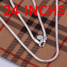 wholesale fashion jewelry 925 stamped silver plated jewelry necklace 3mm snake chain length 40 76cm men