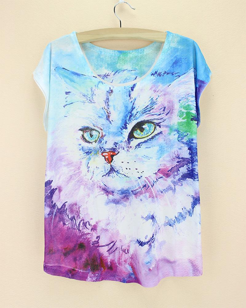 green short sleeve summer pretty design camisas mujer plus size 3d animal printing tee shirt colorful cat female shirt(China (Mainland))