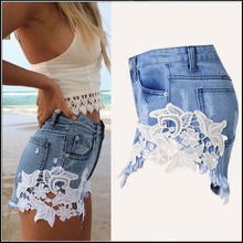 Summer Lace Floral Tassel Women Shorts Wash Jeans Denim Shorts Size S-2XL Rivet Decorated Lady Short Pants Trousers