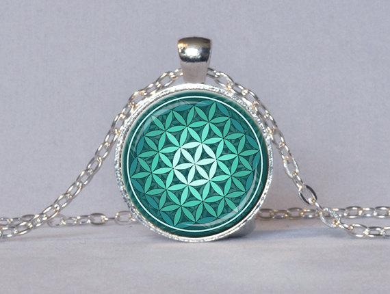 FLOWER OF LIFE Pendant Teal Green Aqua Spiritual Jewelry Inspirational Necklace Sacred Geometry Meditation Jewelry(China (Mainland))
