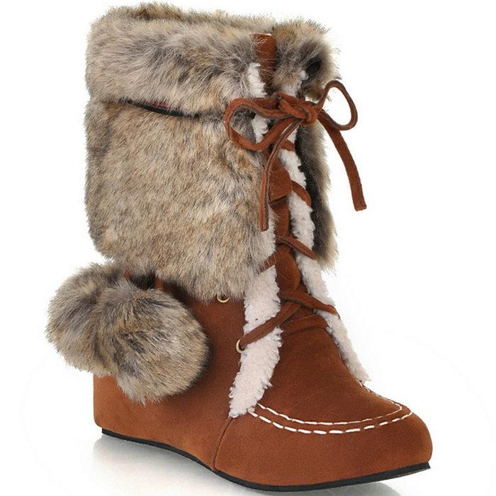 Women Half Knee Boots Wedge Heel Platform Lace-up Autumn Winter Women Shoes Warm Fur Snow Boots Mid Calf  Boots