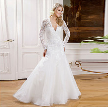 long sleeved wedding dresses muslim simple white see through corset bridal gowns 2016 vestidos de noiva casameto made in china(China (Mainland))