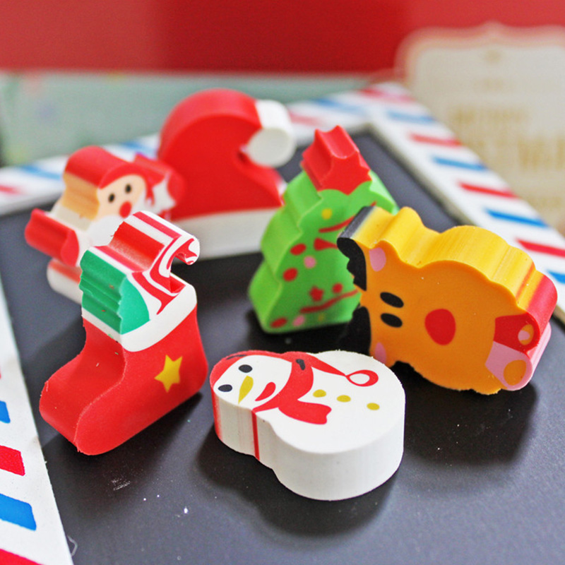 30pcs/lot Cute cartoon Christmas pencil rubber eraser New erasers for kids gift clean material office school supplies escolar(China (Mainland))