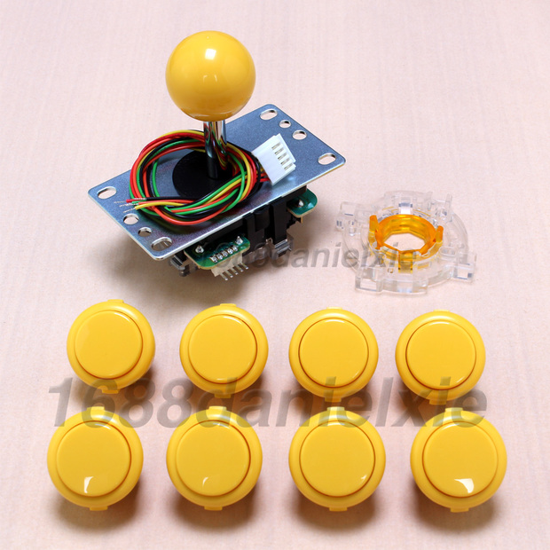 image for Arcade Joystick DIY Kits Parts Sanwa JLF-TP-8YT 5Pin Rocker + 8 OBSF-3