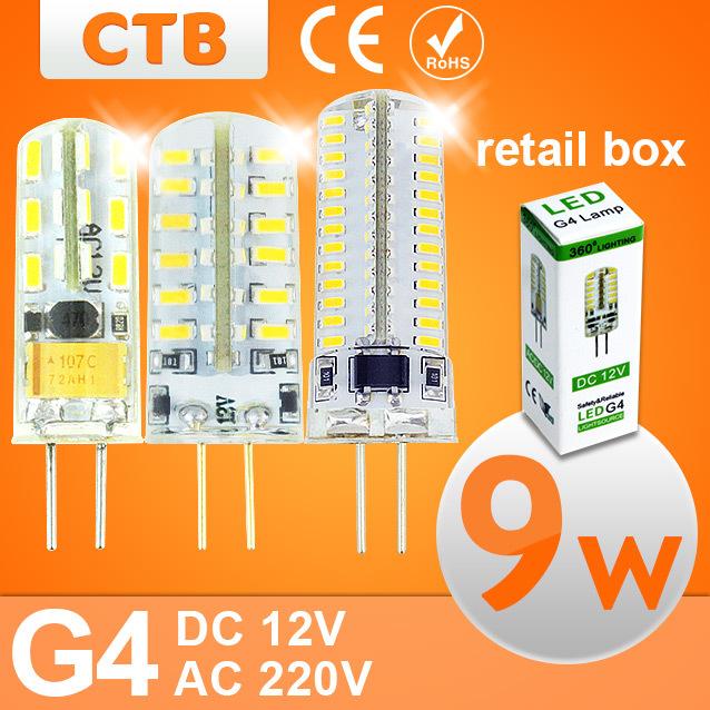 Led g4 AC 220V DC 12V Led bulb Lamp SMD 3014 3W 4W 5W 6W 7W 9W 10W Replace 10w 30w halogen lamp light 360 Beam Angle lampada led(China (Mainland))