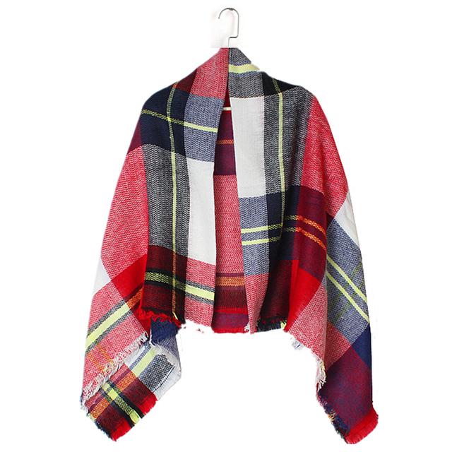Za 2016 новое поступление зима мода женщин евро бренд дизайн геометрический красный белый квадрат сетки шарф большие шали 140 см * 140 см