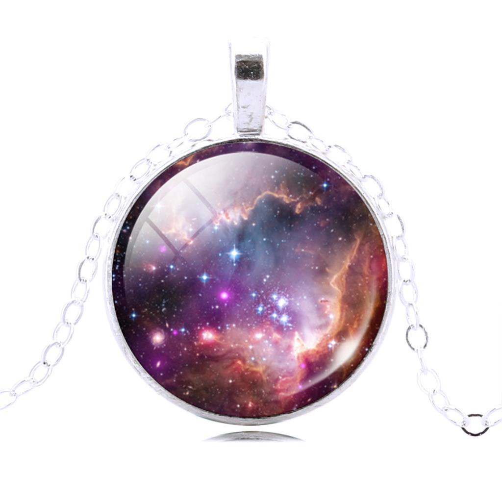 New Glass Galaxy Pendant Necklace Silver Chain Necklace Choker Statement Fashion Jewelry For Men Women(China (Mainland))