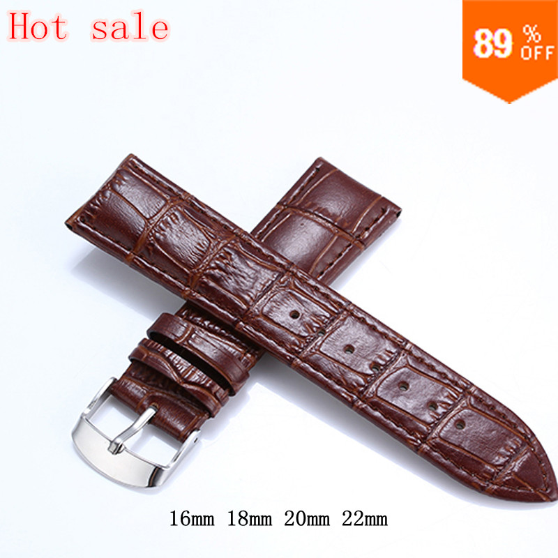 16mm 18mm 20mm 22mm Brown Black Genuine Leather Watchbands waterproof calfskin Watch Straps Silver Buckle bracelet watch band(China (Mainland))