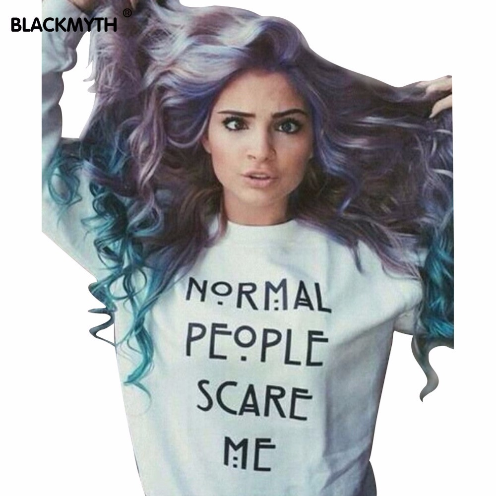 """White Printed """"NORMAL PEOPLE SCARE ME"""" Letter Of Spring 2016 Fashion Women's Sweatshirts Hedging A Capless ---WY171(China (Mainland))"""