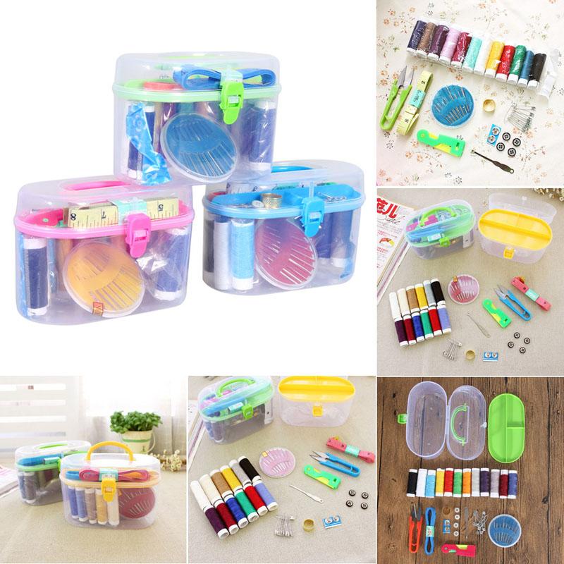 Portable Home Sewing Kit Thread Threader Needle Tape Measure Scissor Thimble Storage Box Case(China (Mainland))