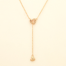 413 Italina Fashion Heart Crystals Pendant Rose Gold Plated Silver Chain Necklace for women Birthday Party Jewelry,Free Shipping(China (Mainland))