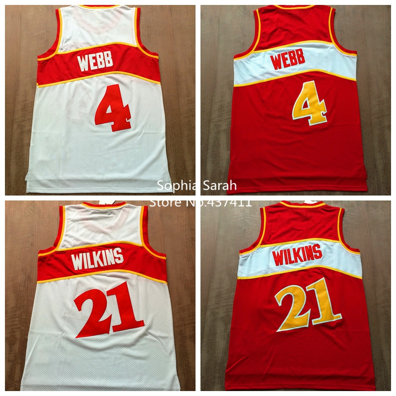 Spud Webb Jersey, Dominique Wilkins Jersey,Throwback Retro Vintage Basketball Jerseys,Embroidery Logos,S-XXL(China (Mainland))