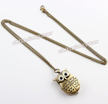 Unique antique fashion alloy vivid owl pocket watches pendent necklace P27