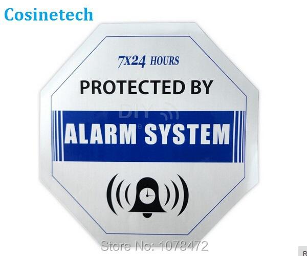 5 PCS Caution blue Decals Waterproof Warning Sign Sticker for Home Security GSM PSTN camera burglar Alarm sign sysetem sensors(China (Mainland))