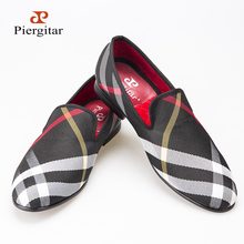Blue and white plaid canvas shoes Luxury brand men loafers black pig leather insole men 's casual shoes men's flats(China (Mainland))
