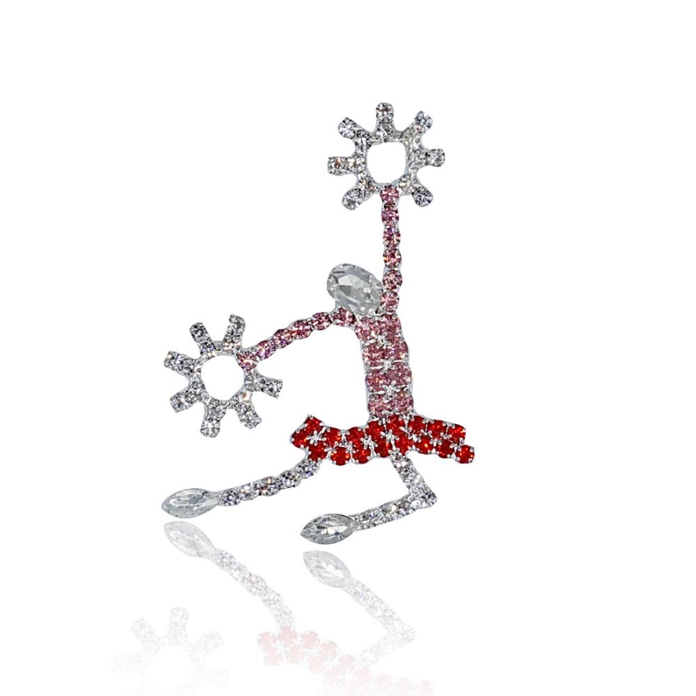 "Rhinestone ""Cheerleader"" Lapel Pin Handmade Unique Brooch Jewelry"