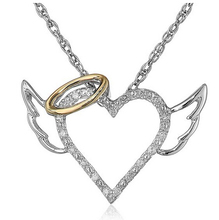 Buy 2017 Fashion Angel Wings Love Heart Pendant Necklace Jewelry Fashion Chain Necklaces Pendants for $1.30 in AliExpress store