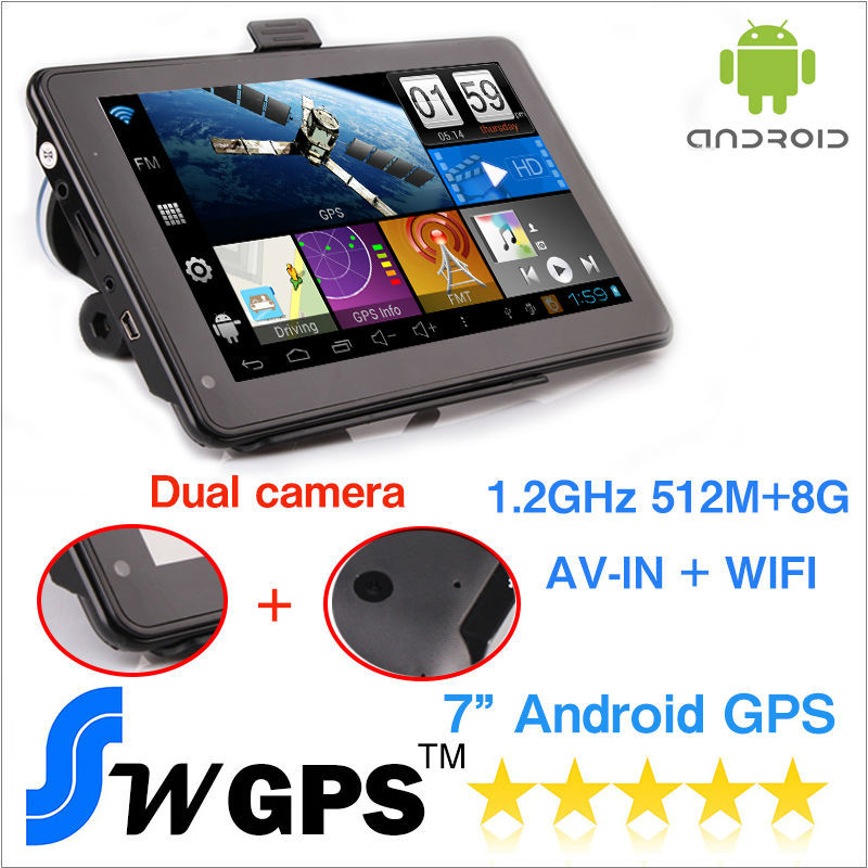 7 inch Capacitive Android GPS navigation android navigator vehicle GPS Wifi + DVR Function+ AV-IN + FM+8GB + 512MB Dual camera(China (Mainland))