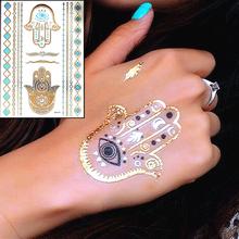 Gold Hamsa Fatima Hand Temporary Body Arts, Jewelry Flash Tattoo Sticker 21*15cm Waterproof Sex Products Henna Wedding Tatoo