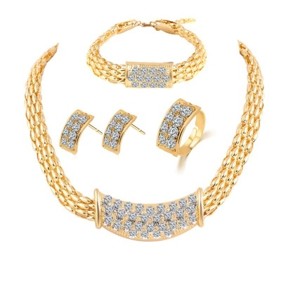 new 2016 gold crystal earrings necklace bracelet rings 4 styles  of set jewelry fashion freeshipping<br><br>Aliexpress