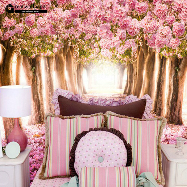 Great wall 3d romantic cherry blossoms large wallpaper for Wallpaper for large walls